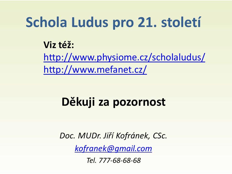 Schola Ludus pro 21. století Děkuji za pozornost Doc.