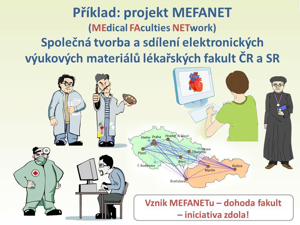 Příklad: projekt MEFANET (MEdical FAculties NETwork) Společná tvorba a sdílení elektronických výukových materiálů lékařských fakult ČR a SR Vznik MEFANETu – dohoda fakult – iniciativa zdola!