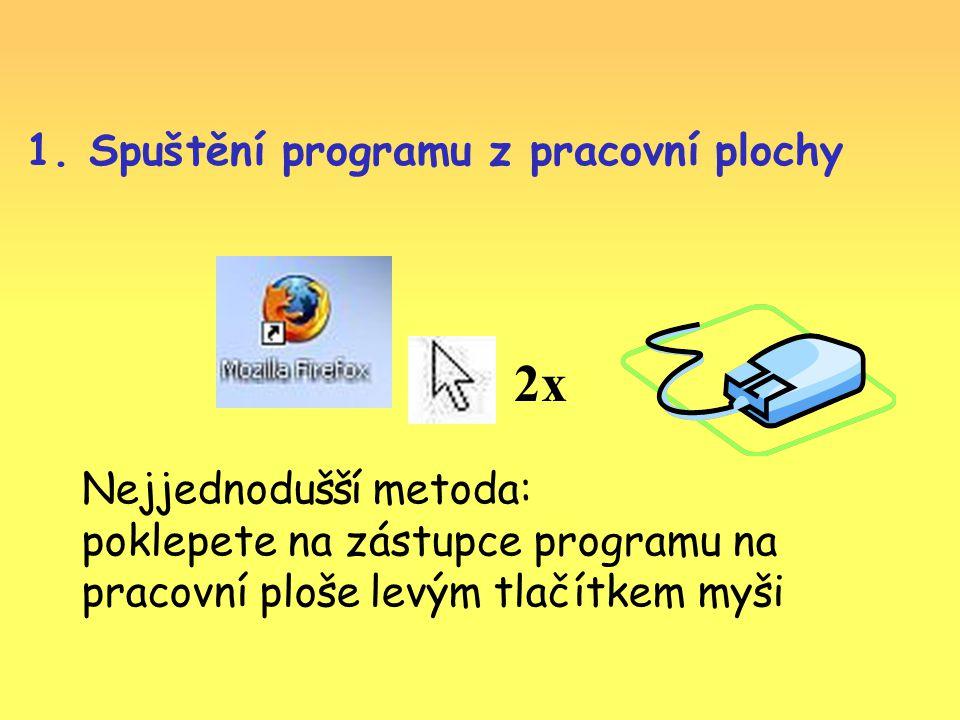 1. Spuštění programu z pracovní plochy 2x Nejjednodušší metoda: poklepete na zástupce programu na pracovní ploše levým tlačítkem myši
