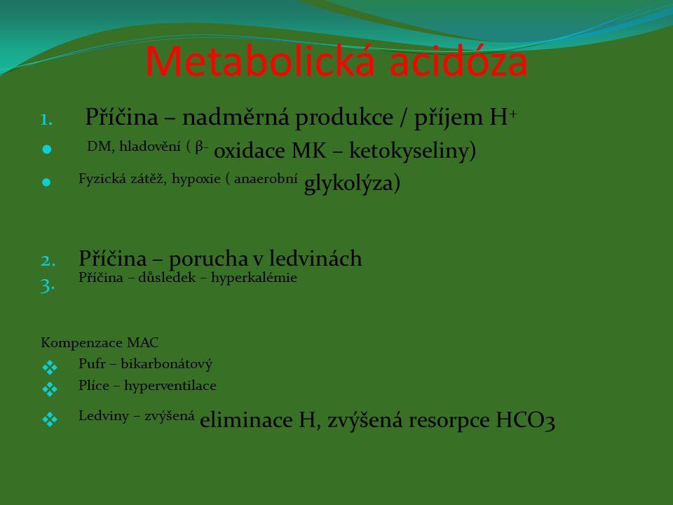 Metabolická alkalóza Příčina : Přívod bází ( infuze HCO3) Zvracení ( ztráta H) Hypokalémie Kompenzace MAL Hypoventilace není možná .