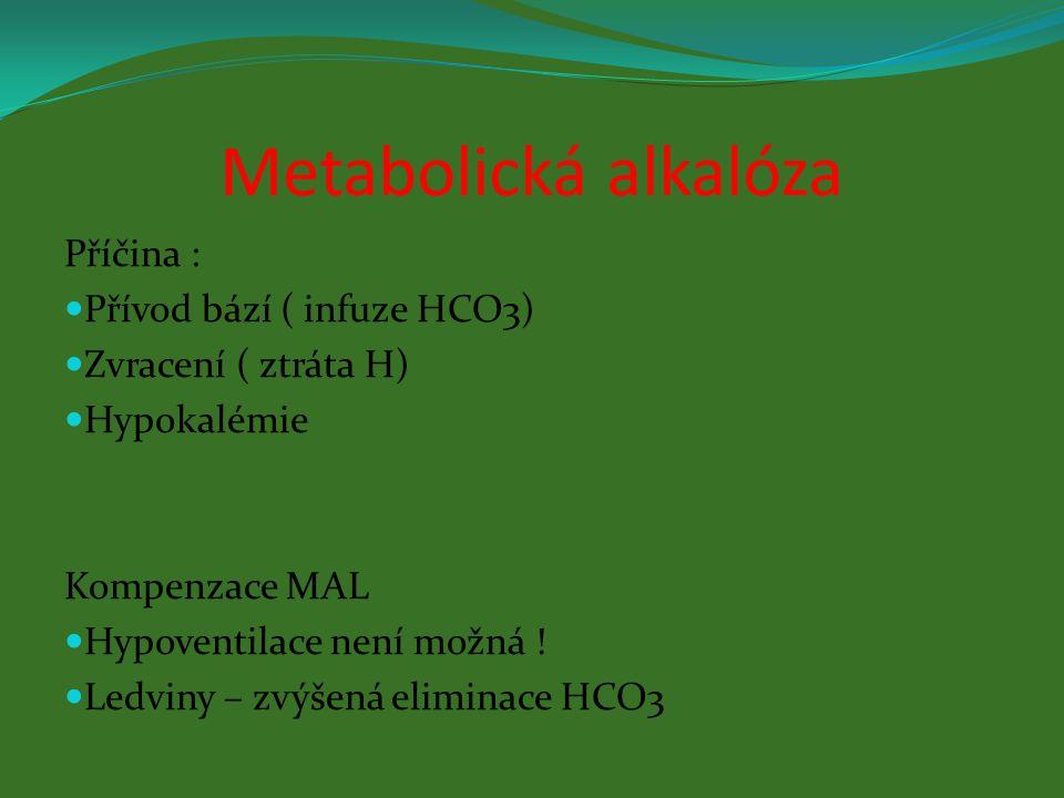 Metabolická alkalóza Příčina : Přívod bází ( infuze HCO3) Zvracení ( ztráta H) Hypokalémie Kompenzace MAL Hypoventilace není možná ! Ledviny – zvýšená
