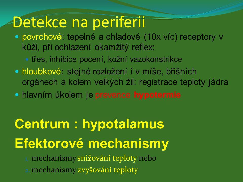 Detekce na periferii povrchové: tepelné a chladové (10x víc) receptory v kůži, při ochlazení okamžitý reflex: třes, inhibice pocení, kožní vazokonstri