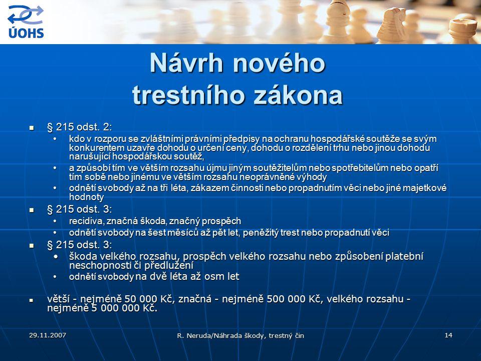 29.11.2007 R. Neruda/Náhrada škody, trestný čin 14 Návrh nového trestního zákona § 215 odst. 2: § 215 odst. 2: kdo v rozporu se zvláštními právními př