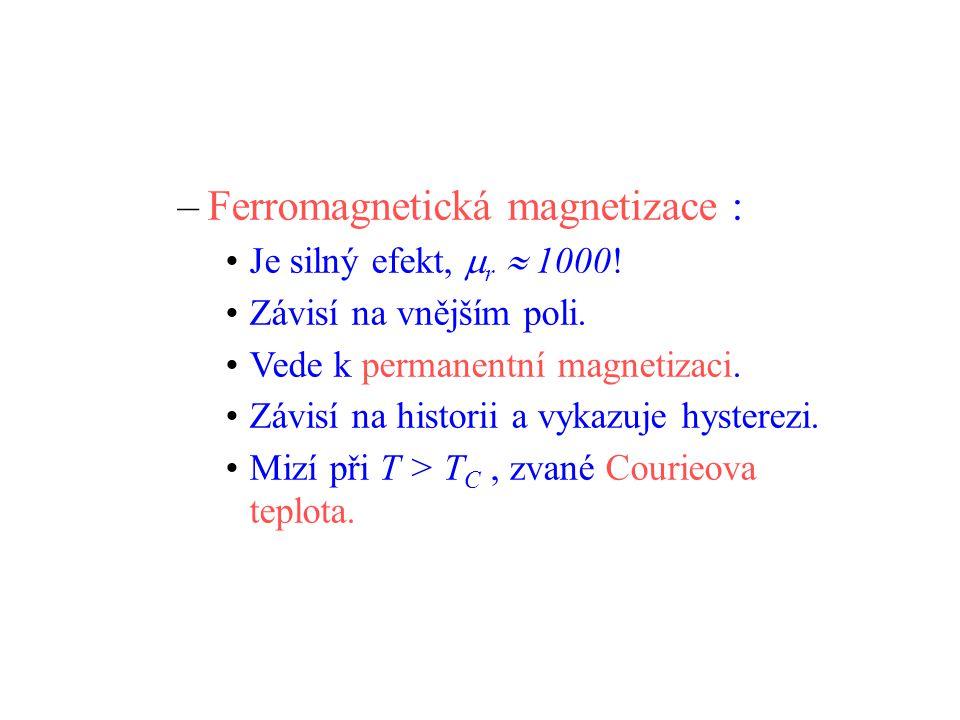 –Ferromagnetická magnetizace : Je silný efekt,  r  1000.