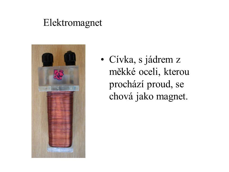 Elektromagnet Cívka, s jádrem z měkké oceli, kterou prochází proud, se chová jako magnet.