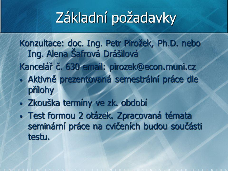 Základní požadavky Konzultace: doc. Ing. Petr Pirožek, Ph.D. nebo Ing. Alena Šafrová Drášilová Kancelář č. 630 email: pirozek@econ.muni.cz Aktivně pre