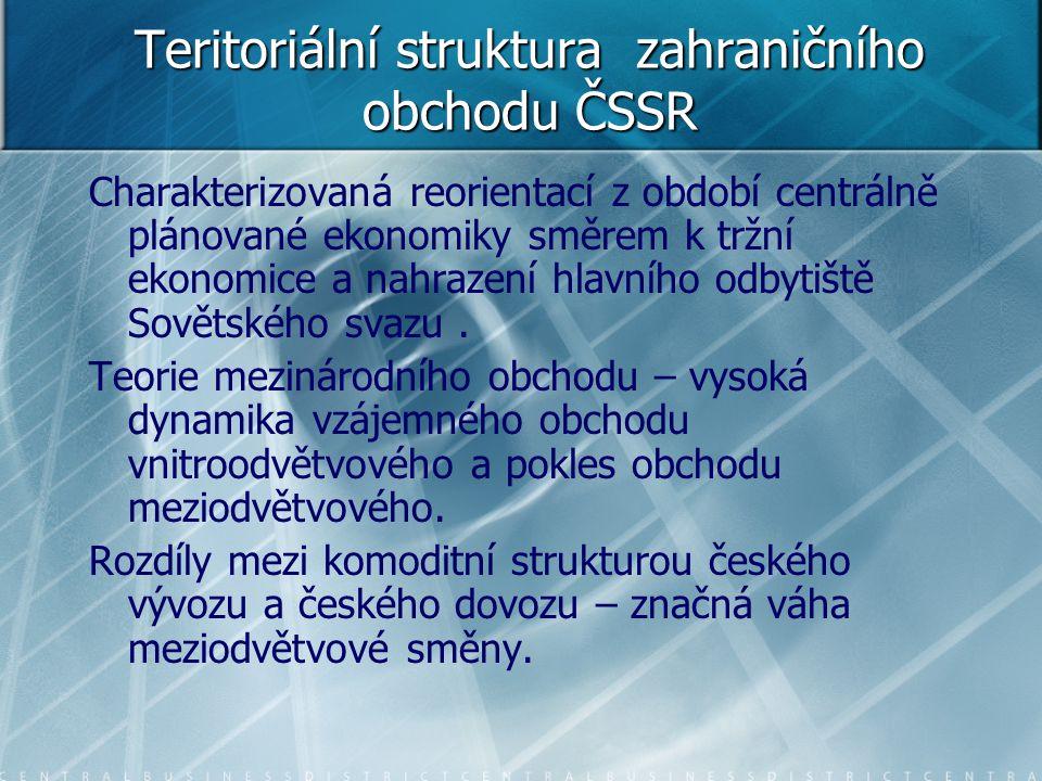 Teritoriální struktura zahraničního obchodu ČSSR Charakterizovaná reorientací z období centrálně plánované ekonomiky směrem k tržní ekonomice a nahraz