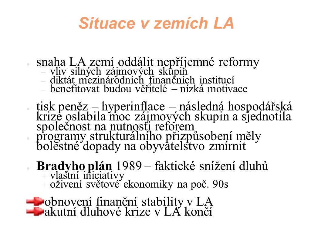 Situace v zemích LA ● snaha LA zemí oddálit nepříjemné reformy – vliv silných zájmových skupin – diktát mezinárodních finančních institucí – benefitov