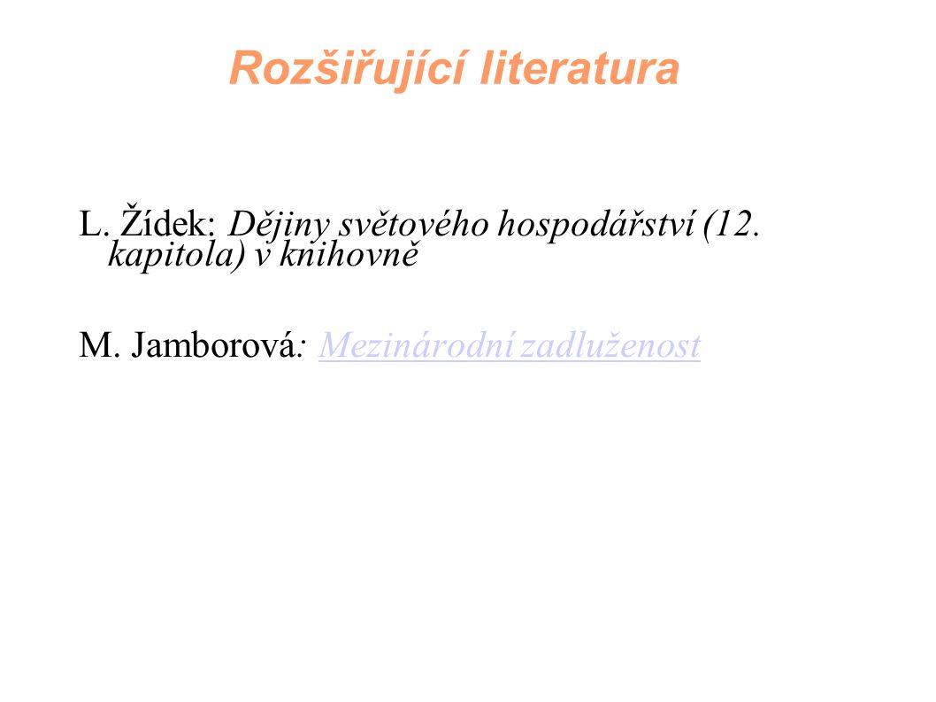 L. Žídek: Dějiny světového hospodářství (12. kapitola) v knihovně M. Jamborová: Mezinárodní zadluženostMezinárodní zadluženost Rozšiřující literatura