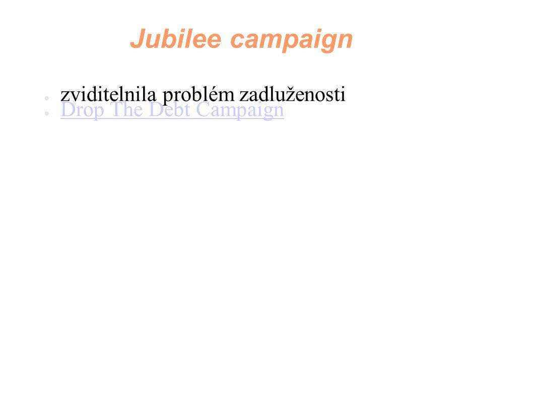 Jubilee campaign ● zviditelnila problém zadluženosti ● Drop The Debt Campaign Drop The Debt Campaign