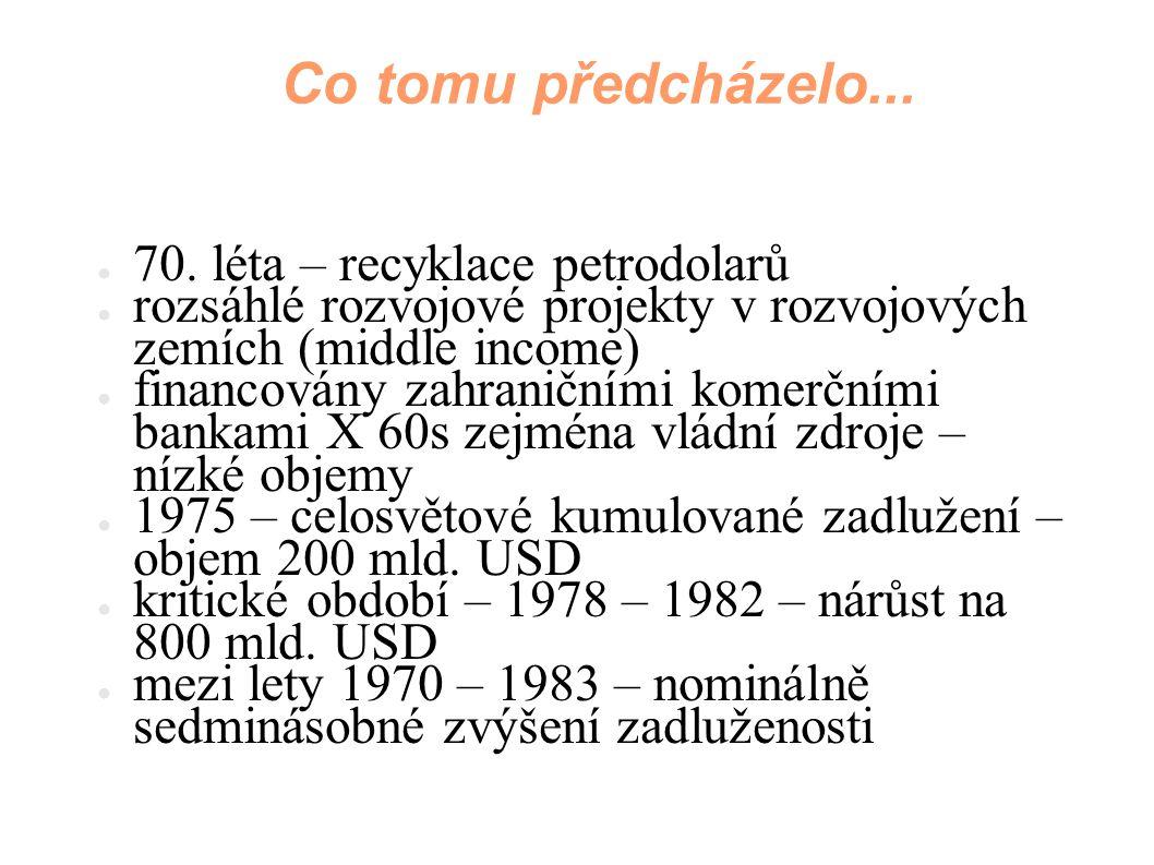 Co tomu předcházelo... ● 70. léta – recyklace petrodolarů ● rozsáhlé rozvojové projekty v rozvojových zemích (middle income) ● financovány zahraničním