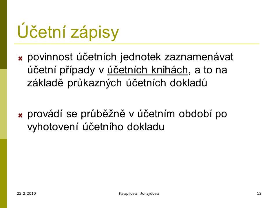 22.2.2010Kvapilová, Jurajdová13 Účetní zápisy povinnost účetních jednotek zaznamenávat účetní případy v účetních knihách, a to na základě průkazných účetních dokladů provádí se průběžně v účetním období po vyhotovení účetního dokladu