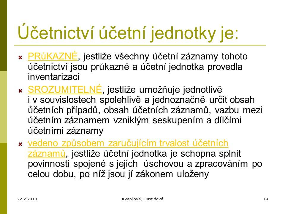22.2.2010Kvapilová, Jurajdová19 Účetnictví účetní jednotky je: PRůKAZNÉ, jestliže všechny účetní záznamy tohoto účetnictví jsou průkazné a účetní jednotka provedla inventarizaci SROZUMITELNÉ, jestliže umožňuje jednotlivě i v souvislostech spolehlivě a jednoznačně určit obsah účetních případů, obsah účetních záznamů, vazbu mezi účetním záznamem vzniklým seskupením a dílčími účetními záznamy vedeno způsobem zaručujícím trvalost účetních záznamů, jestliže účetní jednotka je schopna splnit povinnosti spojené s jejich úschovou a zpracováním po celou dobu, po níž jsou jí zákonem uloženy