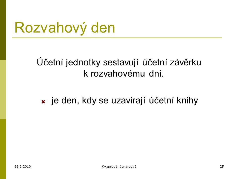 22.2.2010Kvapilová, Jurajdová25 Rozvahový den Účetní jednotky sestavují účetní závěrku k rozvahovému dni.