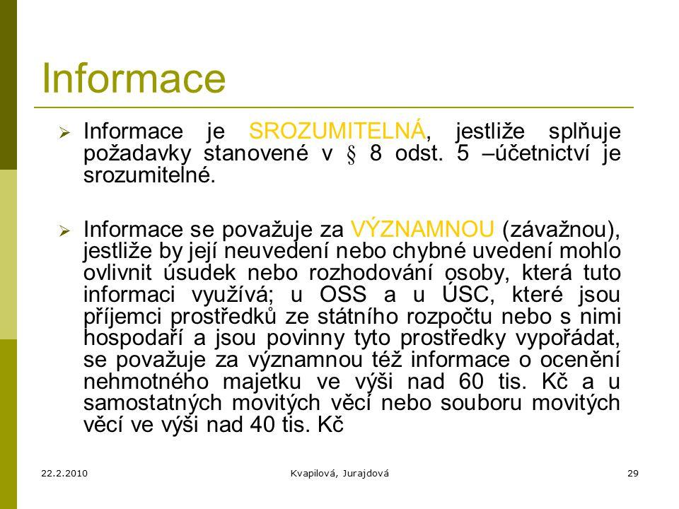 22.2.2010Kvapilová, Jurajdová29 Informace  Informace je SROZUMITELNÁ, jestliže splňuje požadavky stanovené v § 8 odst.