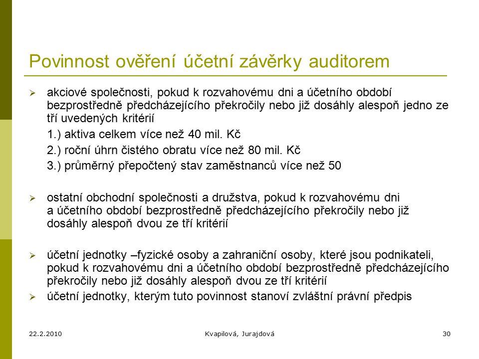 22.2.2010Kvapilová, Jurajdová30 Povinnost ověření účetní závěrky auditorem  akciové společnosti, pokud k rozvahovému dni a účetního období bezprostředně předcházejícího překročily nebo již dosáhly alespoň jedno ze tří uvedených kritérií 1.) aktiva celkem více než 40 mil.
