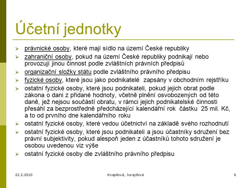 22.2.2010Kvapilová, Jurajdová17 Účetní jednotky jsou povinny vést účetnictví:  správné  úplné  průkazné  srozumitelné  přehledné  způsobem zaručujícím trvalost účetních záznamů
