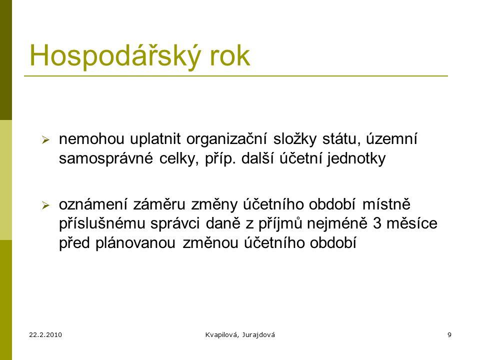 22.2.2010Kvapilová, Jurajdová9 Hospodářský rok  nemohou uplatnit organizační složky státu, územní samosprávné celky, příp.