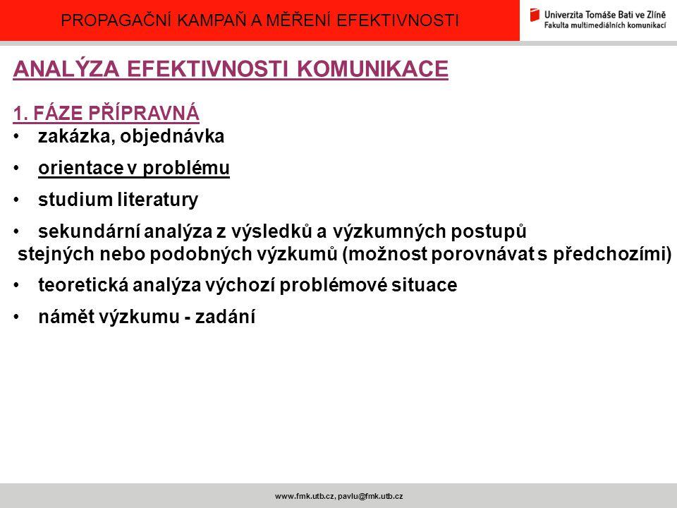 PROPAGAČNÍ KAMPAŇ A MĚŘENÍ EFEKTIVNOSTI www.fmk.utb.cz, pavlu@fmk.utb.cz ANALÝZA EFEKTIVNOSTI KOMUNIKACE 1. FÁZE PŘÍPRAVNÁ zakázka, objednávka orienta