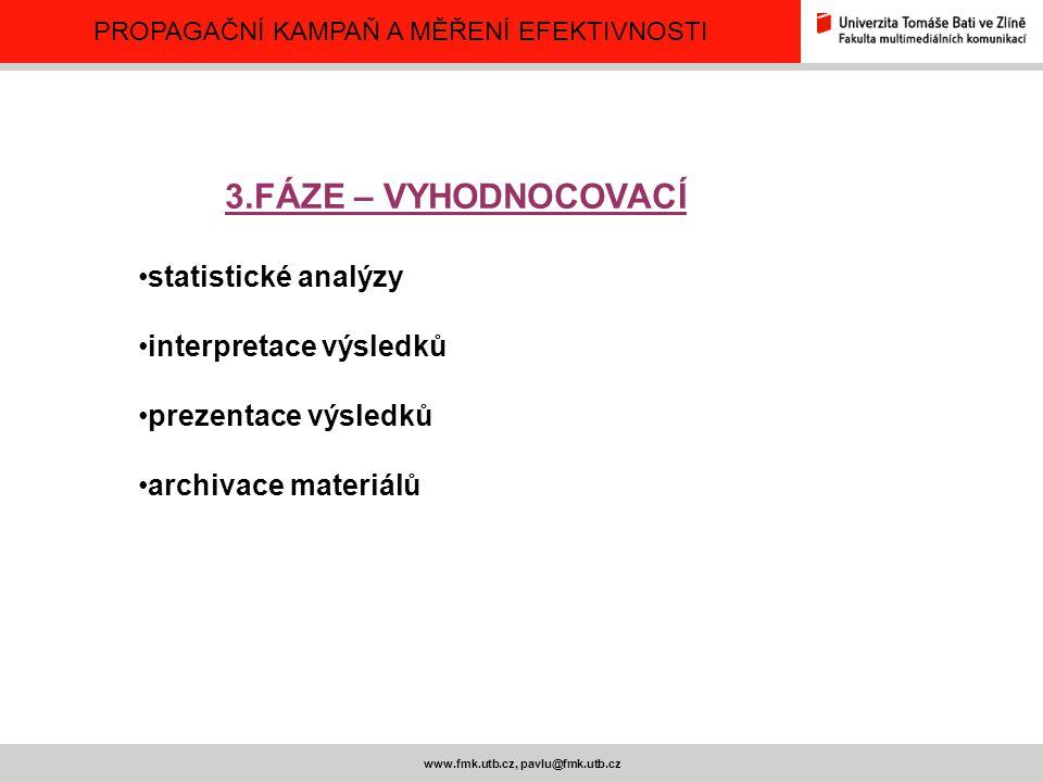 PROPAGAČNÍ KAMPAŇ A MĚŘENÍ EFEKTIVNOSTI www.fmk.utb.cz, pavlu@fmk.utb.cz 3.FÁZE – VYHODNOCOVACÍ statistické analýzy interpretace výsledků prezentace v
