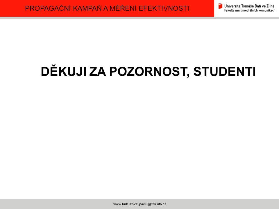 PROPAGAČNÍ KAMPAŇ A MĚŘENÍ EFEKTIVNOSTI www.fmk.utb.cz, pavlu@fmk.utb.cz DĚKUJI ZA POZORNOST, STUDENTI
