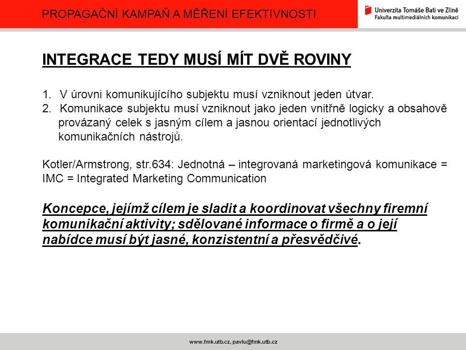 PROPAGAČNÍ KAMPAŇ A MĚŘENÍ EFEKTIVNOSTI www.fmk.utb.cz, pavlu@fmk.utb.cz INTEGRACE TEDY MUSÍ MÍT DVĚ ROVINY 1.V úrovni komunikujícího subjektu musí vz
