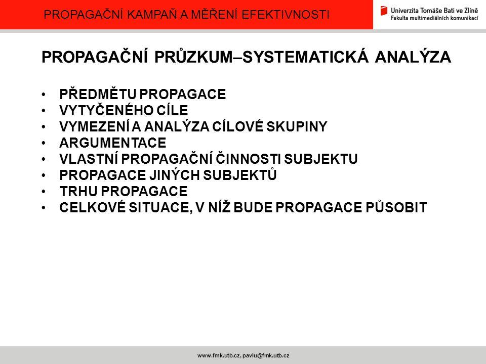 PROPAGAČNÍ KAMPAŇ A MĚŘENÍ EFEKTIVNOSTI www.fmk.utb.cz, pavlu@fmk.utb.cz PROPAGAČNÍ PRŮZKUM–SYSTEMATICKÁ ANALÝZA PŘEDMĚTU PROPAGACE VYTYČENÉHO CÍLE VY