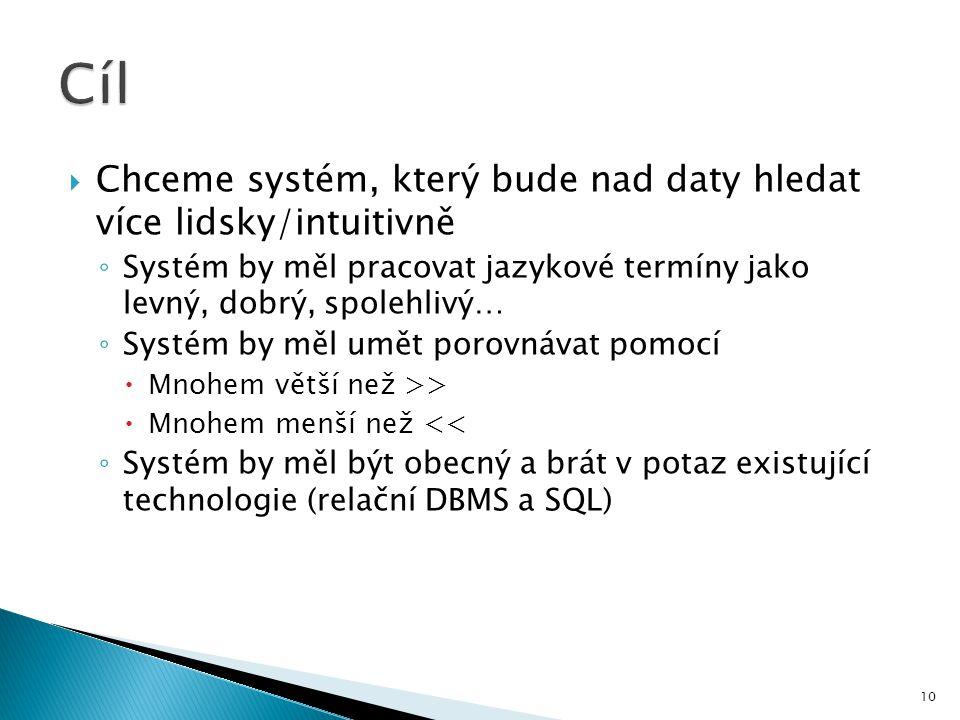  Chceme systém, který bude nad daty hledat více lidsky/intuitivně ◦ Systém by měl pracovat jazykové termíny jako levný, dobrý, spolehlivý… ◦ Systém b