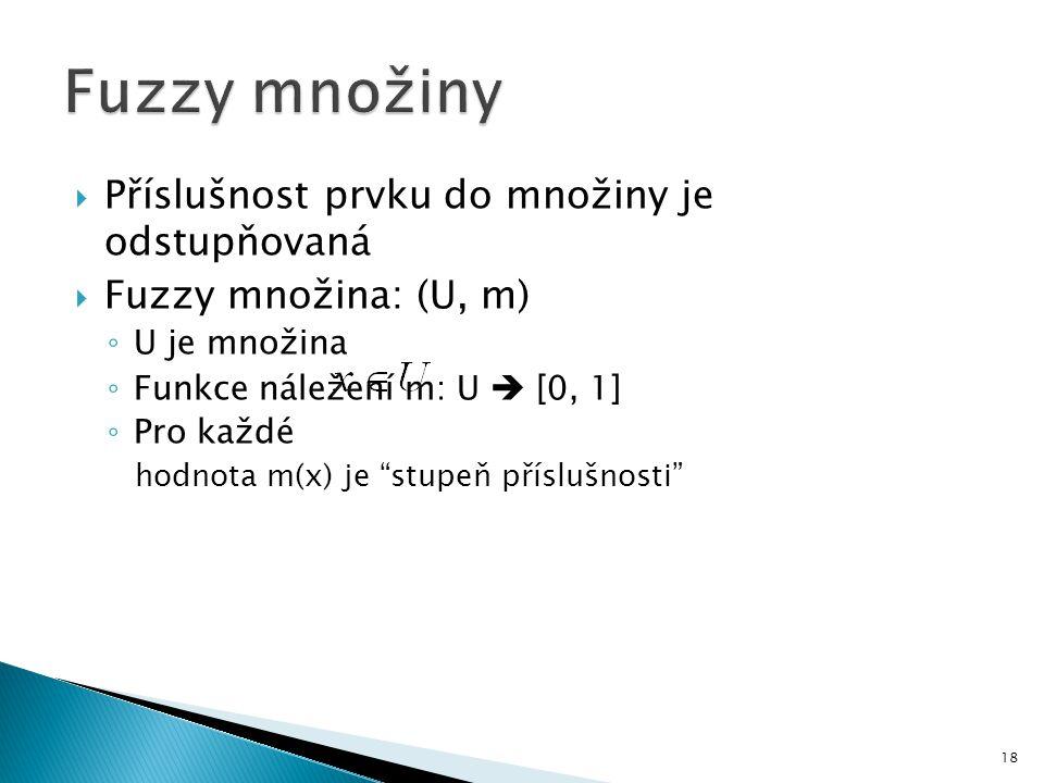 """ Příslušnost prvku do množiny je odstupňovaná  Fuzzy množina: (U, m) ◦ U je množina ◦ Funkce náležení m: U  [0, 1] ◦ Pro každé hodnota m(x) je """"stu"""