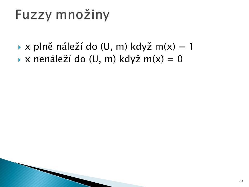  x plně náleží do (U, m) když m(x) = 1  x nenáleží do (U, m) když m(x) = 0 20