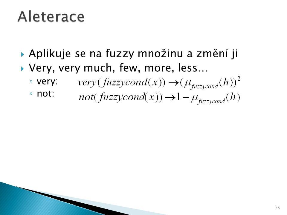  Aplikuje se na fuzzy množinu a změní ji  Very, very much, few, more, less… ◦ very: ◦ not: 25