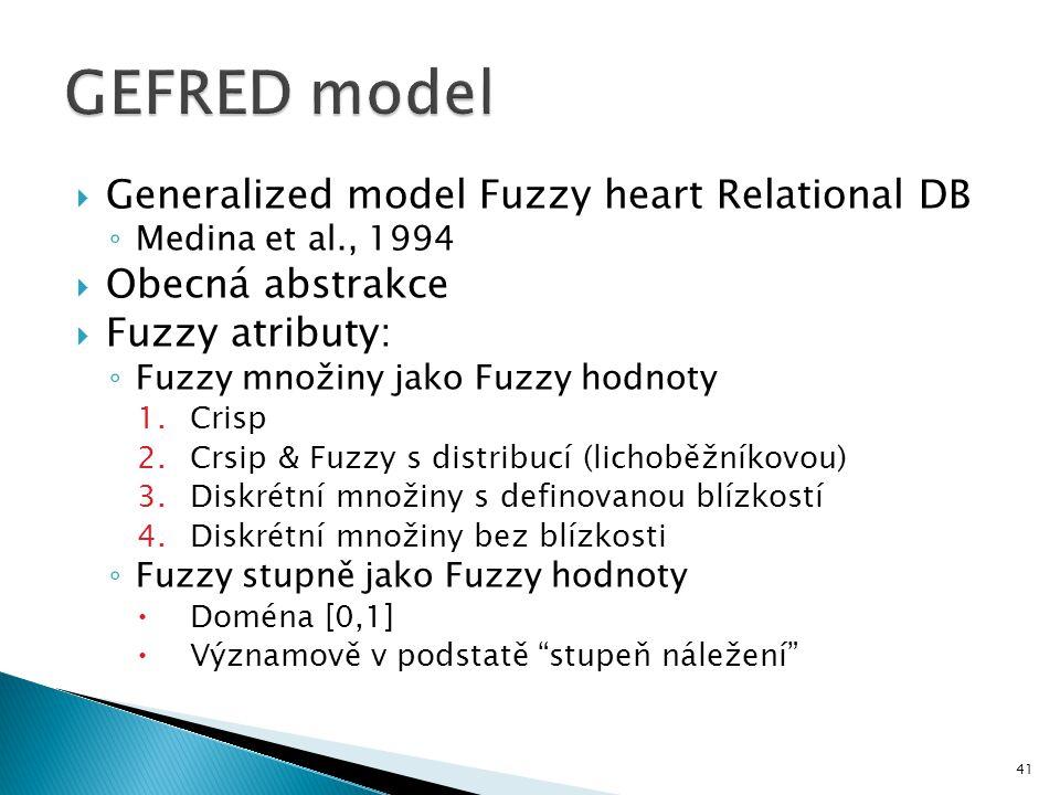  Generalized model Fuzzy heart Relational DB ◦ Medina et al., 1994  Obecná abstrakce  Fuzzy atributy: ◦ Fuzzy množiny jako Fuzzy hodnoty 1.Crisp 2.
