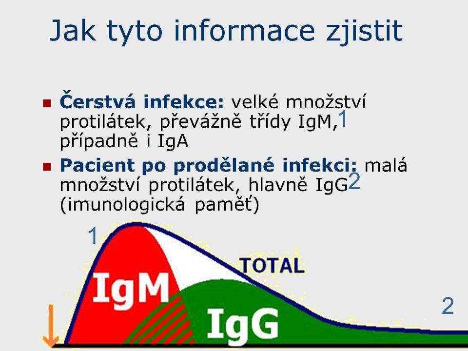 Protilátky ostatních tříd Protilátky třídy IgA se u některých infekcí vyšetřují místo protilátek IgM.