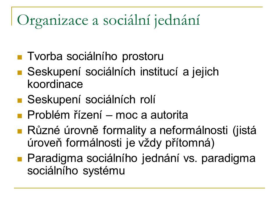 Organizace a sociální jednání Tvorba sociálního prostoru Seskupení sociálních institucí a jejich koordinace Seskupení sociálních rolí Problém řízení –