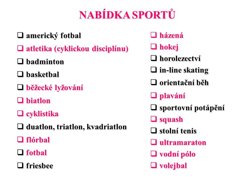 NABÍDKA SPORTŮ  americký fotbal  atletika (cyklickou disciplínu)  badminton  basketbal  běžecké lyžování  biatlon  cyklistika  duatlon, triatl