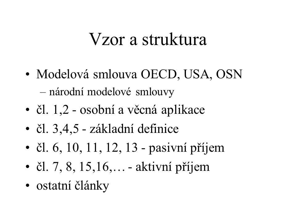 Vzor a struktura Modelová smlouva OECD, USA, OSN –národní modelové smlouvy čl.