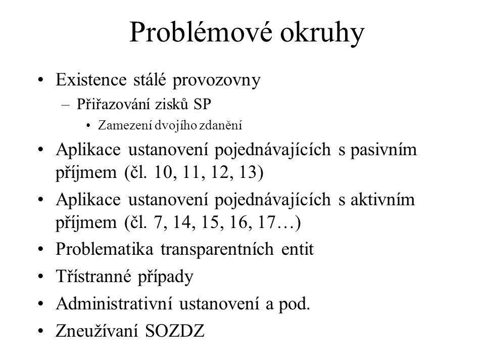 Problémové okruhy Existence stálé provozovny –Přiřazování zisků SP Zamezení dvojího zdanění Aplikace ustanovení pojednávajících s pasivním příjmem (čl.