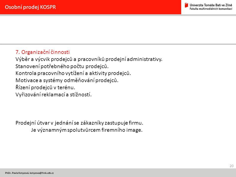 20 PhDr. Pavla Kotyzová, kotyzova@fmk.utb.cz Osobní prodej KOSPR 7.