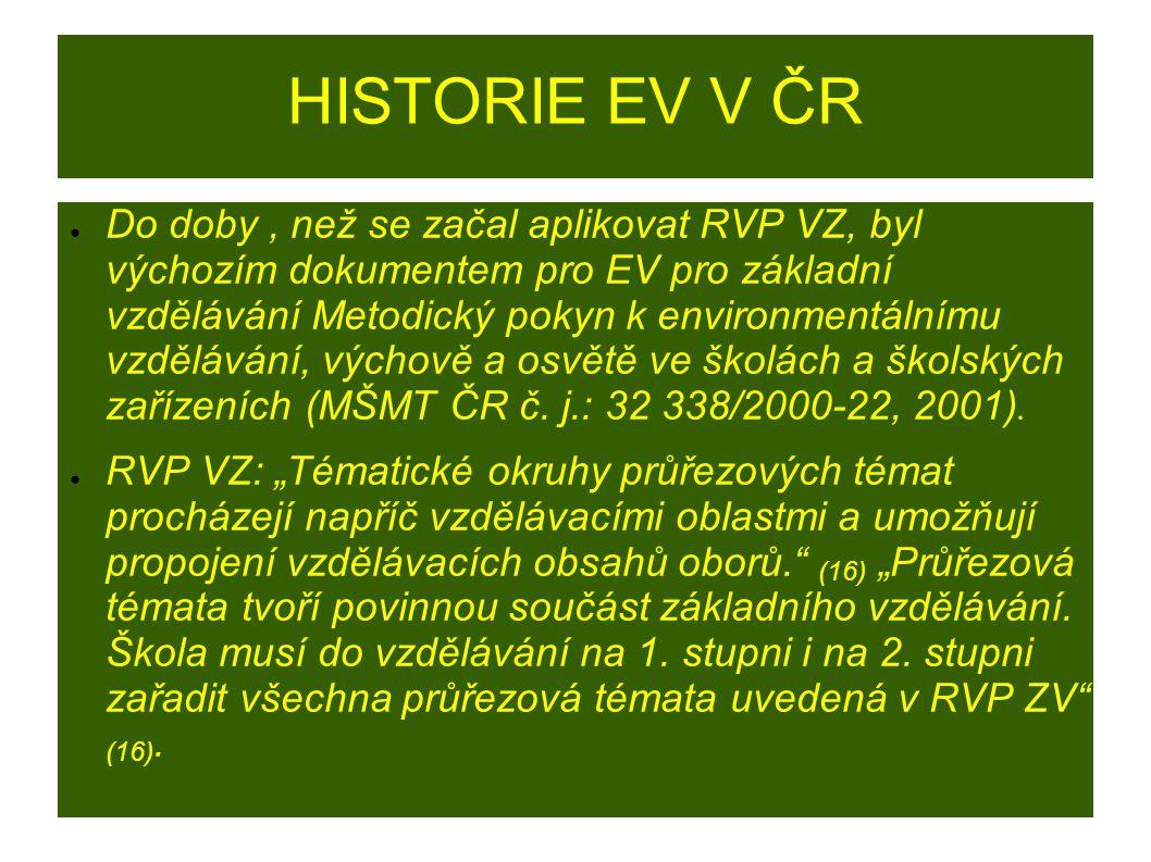 HISTORIE EV V ČR ● Do doby, než se začal aplikovat RVP VZ, byl výchozím dokumentem pro EV pro základní vzdělávání Metodický pokyn k environmentálnímu