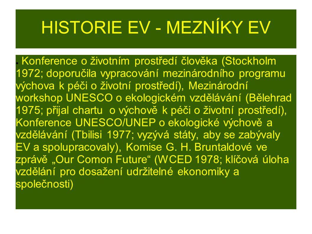 HISTORIE EV - MEZNÍKY EV ● Konference o životním prostředí člověka (Stockholm 1972; doporučila vypracování mezinárodního programu výchova k péči o živ