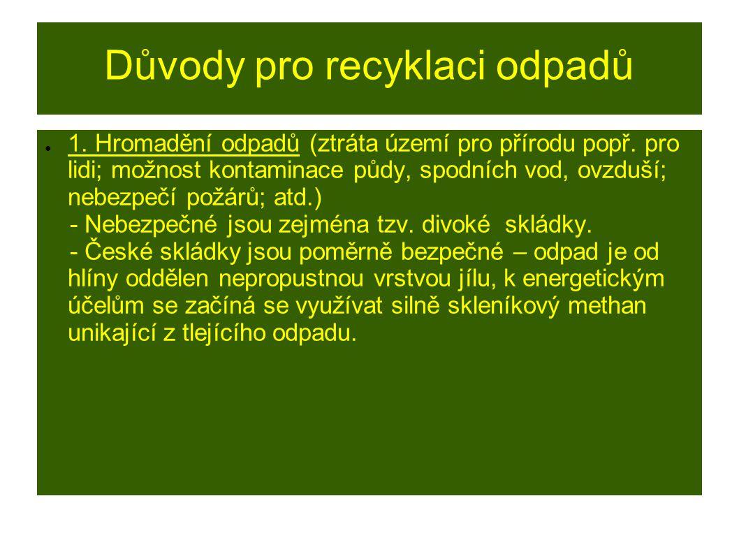 Důvody pro recyklaci odpadů ● 1. Hromadění odpadů (ztráta území pro přírodu popř. pro lidi; možnost kontaminace půdy, spodních vod, ovzduší; nebezpečí