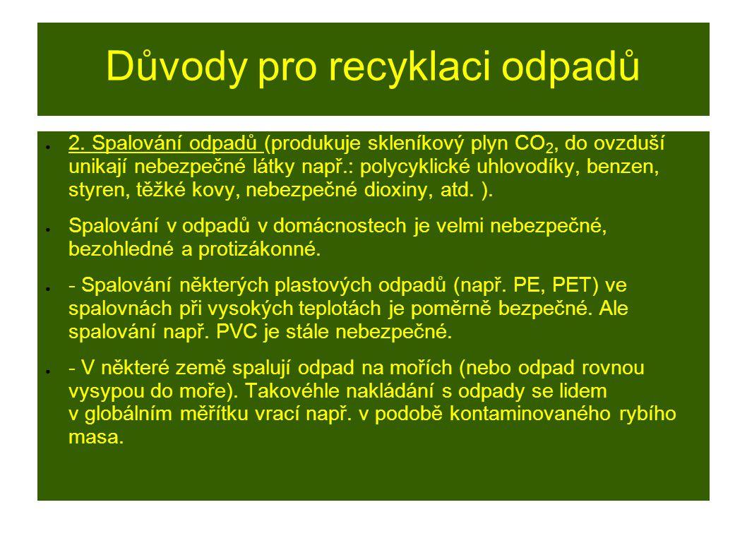 Důvody pro recyklaci odpadů ● 2. Spalování odpadů (produkuje skleníkový plyn CO 2, do ovzduší unikají nebezpečné látky např.: polycyklické uhlovodíky,