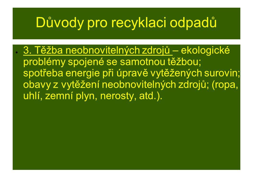 Důvody pro recyklaci odpadů ● 3. Těžba neobnovitelných zdrojů – ekologické problémy spojené se samotnou těžbou; spotřeba energie při úpravě vytěžených