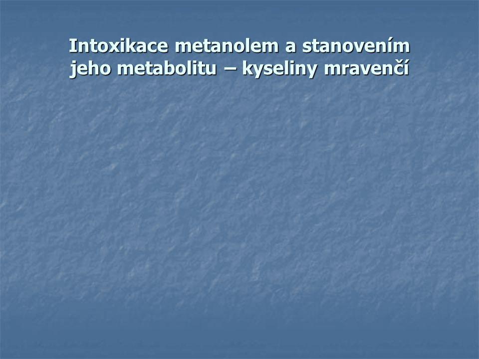 Intoxikace metanolem a stanovením jeho metabolitu – kyseliny mravenčí