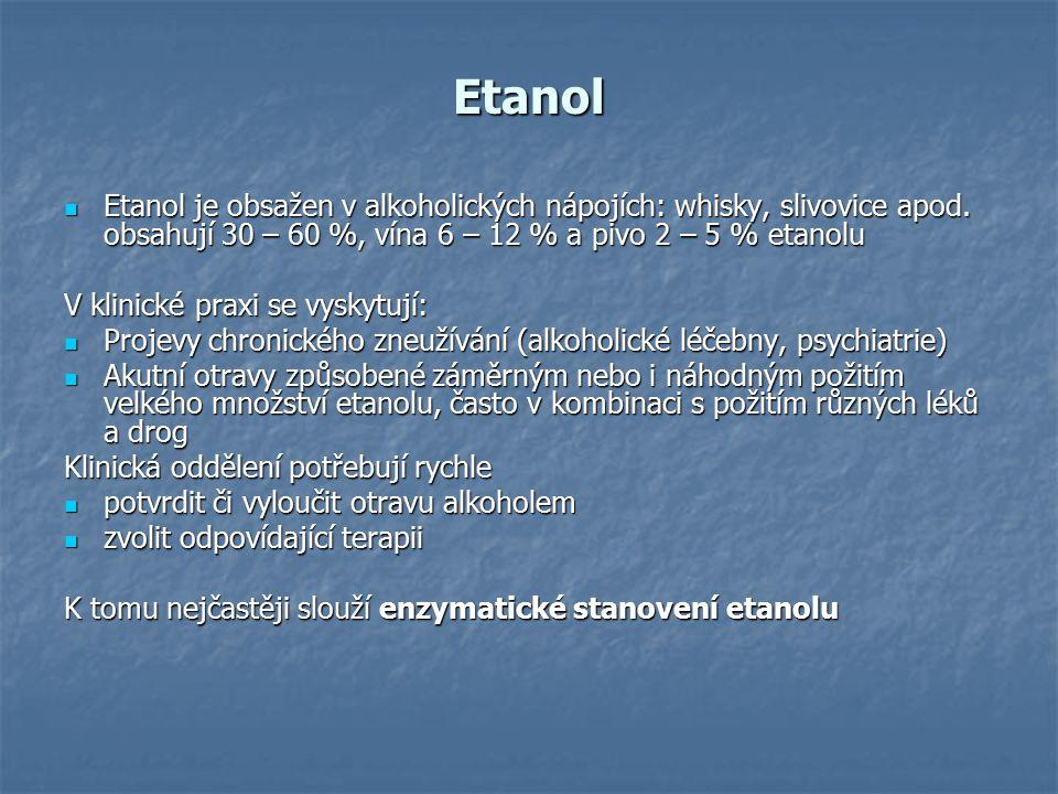 Etanol Etanol je obsažen v alkoholických nápojích: whisky, slivovice apod. obsahují 30 – 60 %, vína 6 – 12 % a pivo 2 – 5 % etanolu Etanol je obsažen