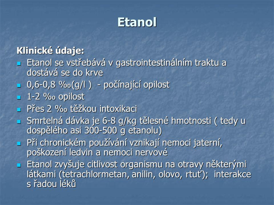 Etanol Klinické údaje: Etanol se vstřebává v gastrointestinálním traktu a dostává se do krve Etanol se vstřebává v gastrointestinálním traktu a dostáv
