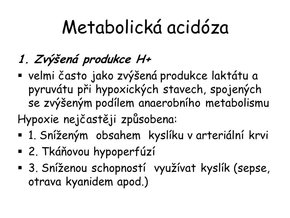Metabolická acidóza 1. Zvýšená produkce H+  velmi často jako zvýšená produkce laktátu a pyruvátu při hypoxických stavech, spojených se zvýšeným podíl