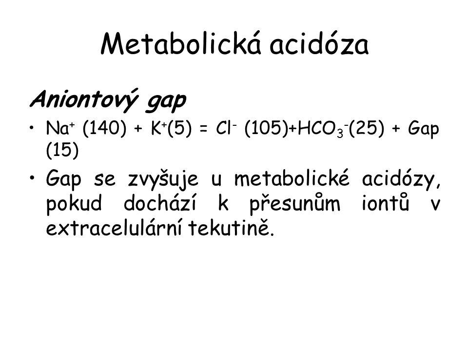 Metabolická acidóza Aniontový gap Na + (140) + K + (5) = Cl - (105)+HCO 3 - (25) + Gap (15) Gap se zvyšuje u metabolické acidózy, pokud dochází k přesunům iontů v extracelulární tekutině.