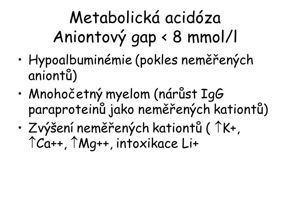 Metabolická acidóza Aniontový gap < 8 mmol/l Hypoalbuminémie (pokles neměřených aniontů) Mnohočetný myelom (nárůst IgG paraproteinů jako neměřených kationtů) Zvýšení neměřených kationtů (  K+,  Ca++,  Mg++, intoxikace Li+
