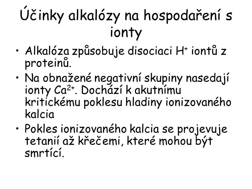 Účinky alkalózy na hospodaření s ionty Alkalóza způsobuje disociaci H + iontů z proteinů.